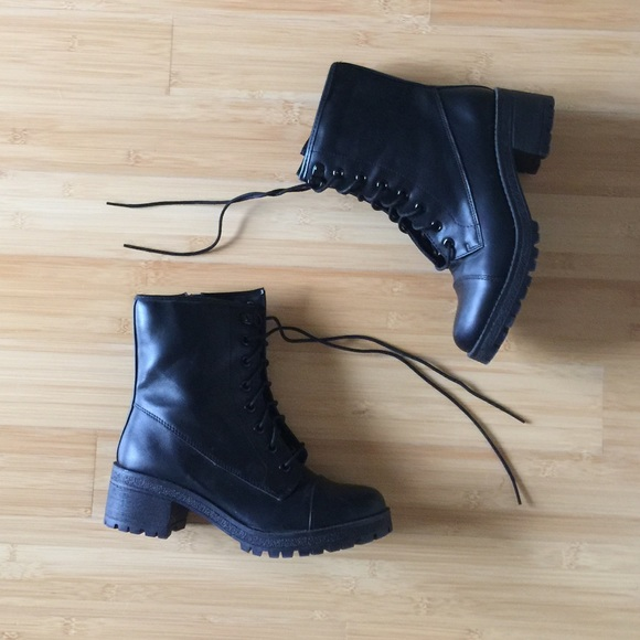 0e0cde8ed7a Madden Girl black lace-up combat boots